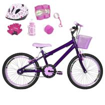 Bicicleta Infantil Aro 20 Roxa Kit E Roda Aero Rosa Bebê C/ Capacete E Kit Proteção - Flexbikes