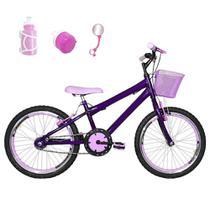 Bicicleta Infantil Aro 20 Roxa Kit E Roda Aero Rosa Bebê Com Acessórios - Flexbikes