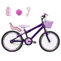 Bicicleta Infantil Aro 20 Roxa Kit E Roda Aero Rosa Bebê Com Cadeirinha - Flexbikes