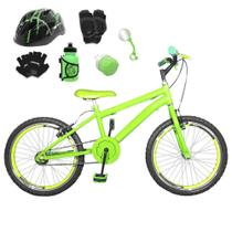 Bicicleta Infantil Aro 20 Verde Claro Kit E Roda Aero Verde C/ Capacete e Kit Proteção - Flexbikes