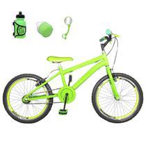Bicicleta Infantil Aro 20 Verde Claro Kit E Roda Aero Verde Com Acessórios - Flexbikes