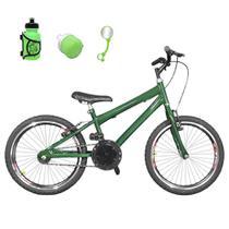 Bicicleta Infantil Aro 20 Verde Escuro Kit E Roda Aero Preto Com Acessórios - Flexbikes
