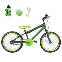 Bicicleta Infantil Aro 20 Verde Escuro Kit E Roda Aero Verde Com Acessórios - Flexbikes