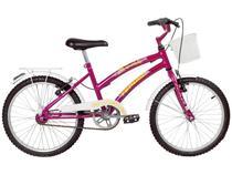Bicicleta Infantil Aro 20 Verden Breeze - Fúcsia e Branca com Cesta Freio V-Brake
