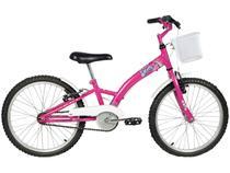 Bicicleta Infantil Aro 20 Verden Smart - Pink e Branco com Cesta Freio V-Brake