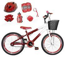 Bicicleta Infantil Aro 20 Vermelha Branca Kit E Roda Aero Vermelha C/ Capacete E Kit Proteção - Flexbikes