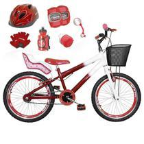 Bicicleta Infantil Aro 20 Vermelha Branca Kit E Roda Aero Vermelho C/ Cadeirinha de Boneca Completa - Flexbikes