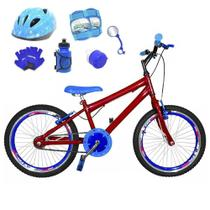 Bicicleta Infantil Aro 20 Vermelha Kit E Roda Aero Azul C/ Capacete e Kit Proteção - Flexbikes