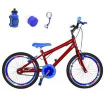 Bicicleta Infantil Aro 20 Vermelha Kit E Roda Aero Azul Com Acessórios - Flexbikes