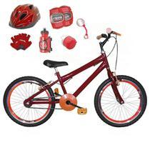 Bicicleta Infantil Aro 20 Vermelha Kit E Roda Aero Laranja C/ Capacete e Kit Proteção - Flexbikes
