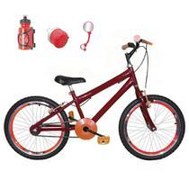Bicicleta Infantil Aro 20 Vermelha Kit E Roda Aero Laranja Com Acessórios - Flexbikes
