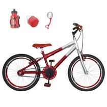 Bicicleta Infantil Aro 20 Vermelha Prata Kit E Roda Aero Vermelha Com Acessórios - Flexbikes