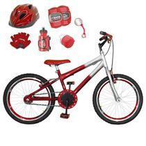Bicicleta Infantil Aro 20 Vermelha Prata Kit E Roda Aero Vermelho C/ Capacete e Kit Proteção - Flexbikes
