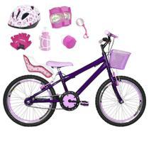 Bicicleta Infantil Aro 20 Violeta Kit E Roda Aero Rosa Bebê C/ Cadeirinha de Boneca Completa - Flexbikes