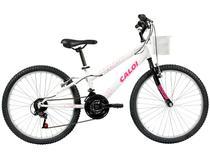 Bicicleta Infantil Aro 24 Caloi Ceci 21 Marchas - Branca com Cesta Freio V-Brake