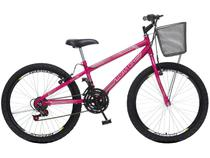 Bicicleta Infantil Aro 24 Colli Bike Allegra City - 21 Marchas Pink com Cesta Freio V-break