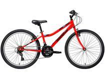 "Bicicleta Infantil Aro 24"" Groove Ragga Vermelha - Freio V-Brake 21 Marchas Câmbio Shimano"
