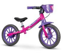 Bicicleta Infantil Balance Bike Sem Pedal Aro 12 Nathor rosa -
