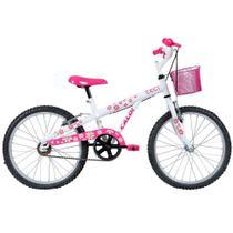 Bicicleta Infantil Caloi Ceci Aro 20 Branco e Rosa com Cesto -