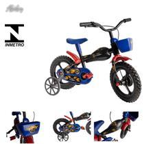 Bicicleta infantil criança aro 12 Moto Bike Preto e azul - color baby