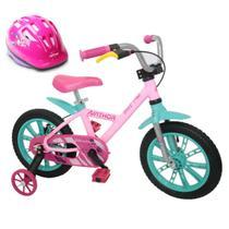 Bicicleta Infantil de Alumínio Aro 14 De 4 a 6 Anos Feminina FirstPro Com Capacete - Nathor