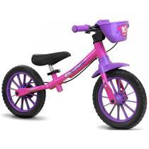 Bicicleta Infantil Equilíbrio Balance Bike Feminina 02 Rosa Sem Pedal - Nathor -