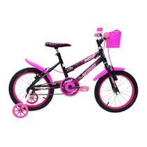 Bicicleta Infantil Feminina Aro 16  - Preta e Pink - Cairu