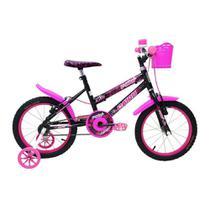 Bicicleta Infantil Feminina Aro 16 - Preto e Pink - Cairu -