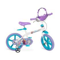 Bicicleta infantil frozen ii disney meninas aro 14 com cadeirinha de boneca e rodinhas - Bandeirante