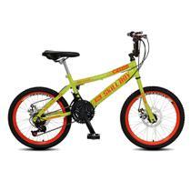 Bicicleta Infantil Masculina Aro 20 Sk Boy freio disco 21 marcha - Amarelo Neon - Colli Bike