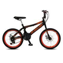 Bicicleta Infantil Masculina Aro 20 Skil Boy freio disco 21 marcha - Preto Fosco - Colli Bike