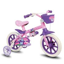Bicicleta Infantil Menina Rosa Lilas Cat Aro 12 Nathor -