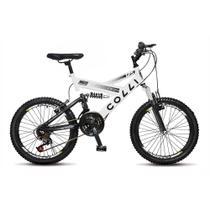 Bicicleta Infantil Menino Menina Aro 20 GPS Dupla Suspensão 21 marchas - Branca - Colli Bike