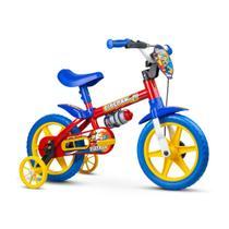 Bicicleta infantil meninos  aro 12 fire man 10 bombeiros radical com rodinhas e garrafinha - Nathor