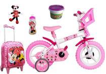 Bicicleta Infantil Minnie Mouse com mochila de rodinha, squeeze e pelúcia - Exp