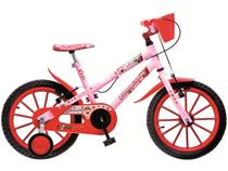 Bicicleta Infantil Moranguinho Aro 16 Colli Bike  - Rosa e Vermelho com Rodinhas com Cesta