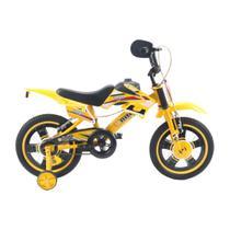 Bicicleta Infantil Moto Cross Aro 16 Unitoys Monovelocidade Amarela -