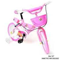 Bicicleta Infantil Turma da Aventura Aro 14 Rosa Rodinhas - UNITOYS