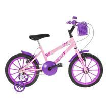 Bicicleta Infantil Ultra Bikes Aro 16 Com Rodinhas Rosa Bebê/Lilás -