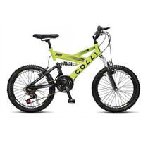 Bicicleta Infantil Unissex Aro 20 GPS Dupla Suspensão 21 marchas - Amarelo Neon - Colli Bike
