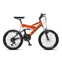 Bicicleta Infantil Unissex Aro 20 GPS Dupla Suspensão 21 marchas - Laranja Neon - Colli Bike