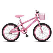 Bicicleta July Infantil Juvenil Aro 20 Aço com Cestinha e Freio V-Brake Rosa Neon - Colli Bike -