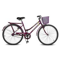 Bicicleta Kyklos Aro 26 Circular 5.4 Freio Manual com Cesta Violeta -