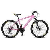 Bicicleta Kyklos Aro 26 Kivnon 8.5 Freio a Disco 21V Rosa/Amarelo -