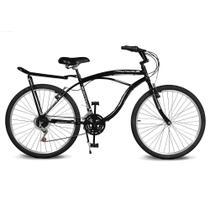 Bicicleta Kyklos Aro 26 Pontal 6.8 Freio Manual com Bagageiro Preto -