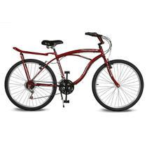 Bicicleta Kyklos Aro 26 Pontal 6.8 Freio Manual com Bagageiro Vermelho -