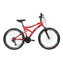 Bicicleta Lazer Caloi Alpes Aro 26 - Susp Dianteira - 21 Velocidades - Vermelho -