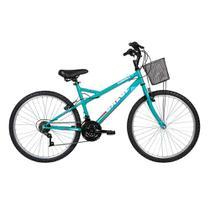 Bicicleta Lazer Caloi Florença Aro 26 - com Cesto Freio V-Brake  21 Velocidades - Verde -