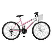 Bicicleta Master Bike Aro 26 Serena Plus 21 Marchas V-Brake Rosa/Branco -