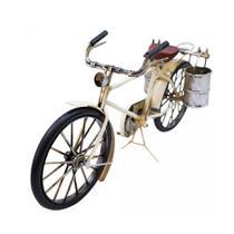 Bicicleta Miniatura Branca Com Baldes 30cm Retrô - Vintage - Drina